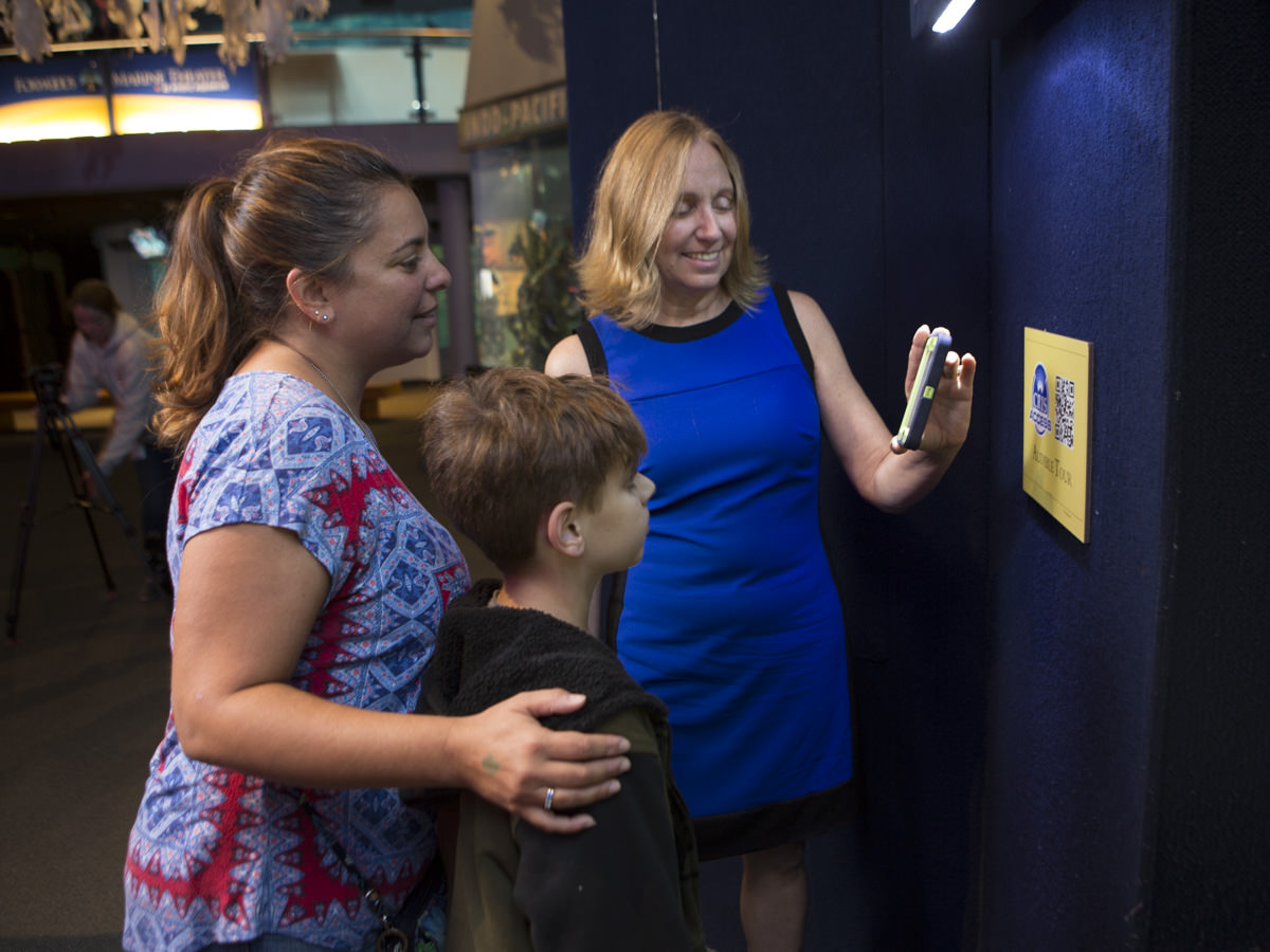Diane Weaver Dunne demonstrates CRISAccess to a family at Mystic Aquarium.