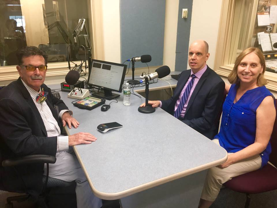 Stephan Thal, Tom Wlodkowski and Diane Weaver Dunne prepare in the call studio
